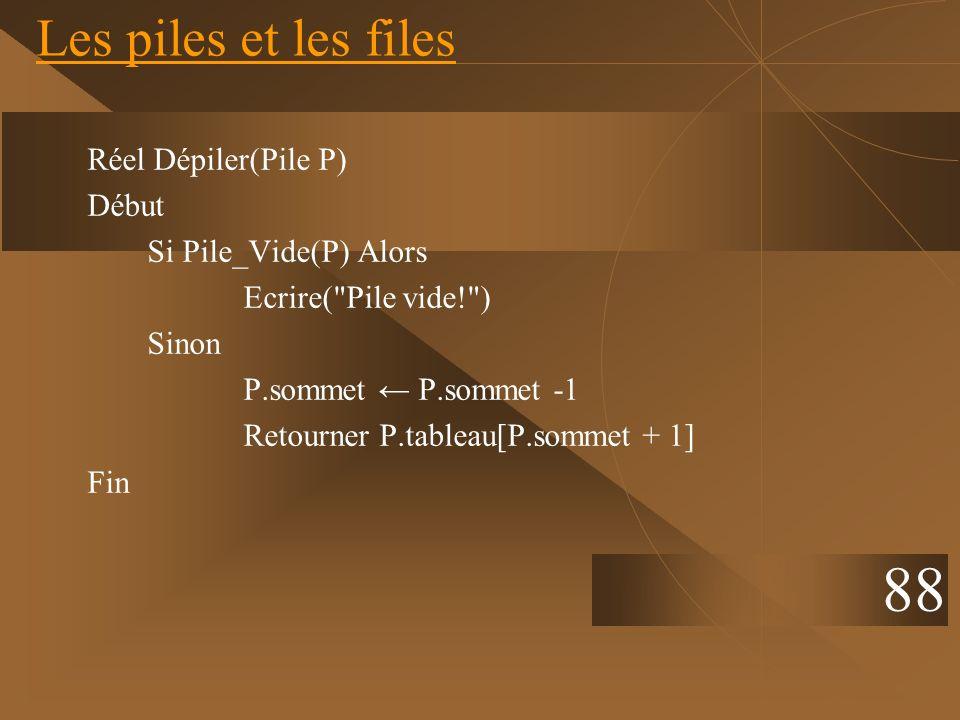 Réel Dépiler(Pile P) Début Si Pile_Vide(P) Alors Ecrire(