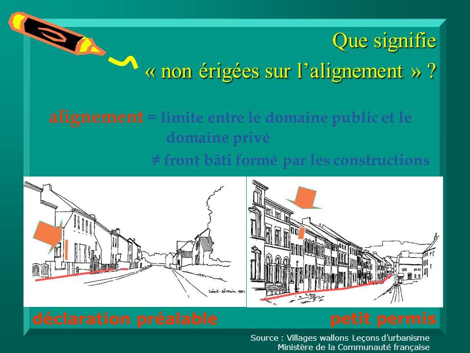 alignement = limite entre le domaine public et le domaine privé front bâti formé par les constructions Que signifie « non érigées sur lalignement » .