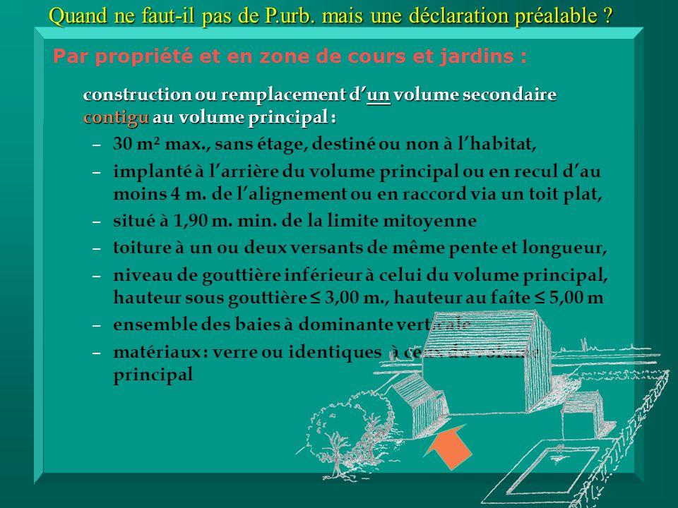 construction ou remplacement dun volume secondaire contigu au volume principal : – – 30 m² max., sans étage, destiné ou non à lhabitat, – – implanté à larrière du volume principal ou en recul dau moins 4 m.