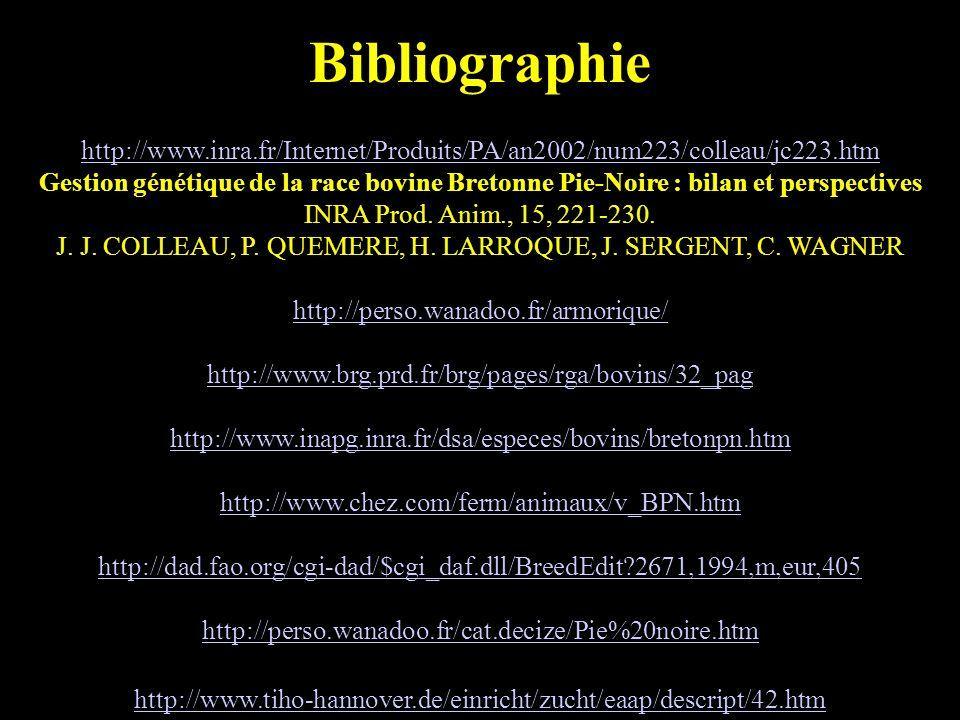 17 Bibliographie http://www.inra.fr/Internet/Produits/PA/an2002/num223/colleau/jc223.htm Gestion génétique de la race bovine Bretonne Pie-Noire : bilan et perspectives INRA Prod.