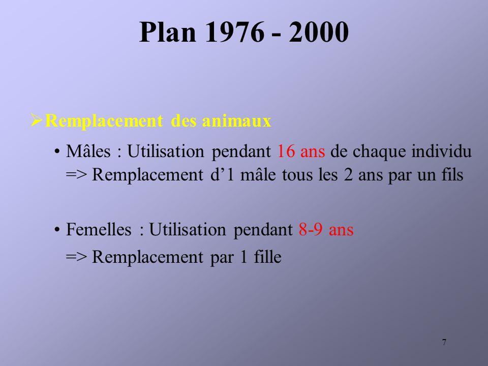 7 Remplacement des animaux Mâles : Utilisation pendant 16 ans de chaque individu => Remplacement d1 mâle tous les 2 ans par un fils Femelles : Utilisation pendant 8-9 ans => Remplacement par 1 fille Plan 1976 - 2000