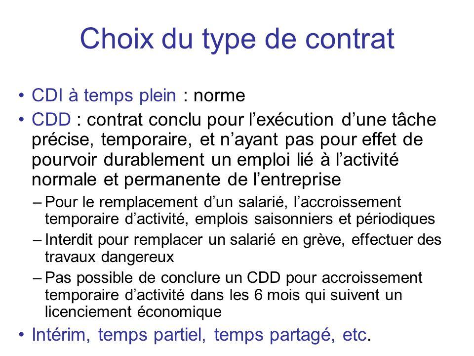 CDI à temps plein : norme CDD : contrat conclu pour lexécution dune tâche précise, temporaire, et nayant pas pour effet de pourvoir durablement un emp