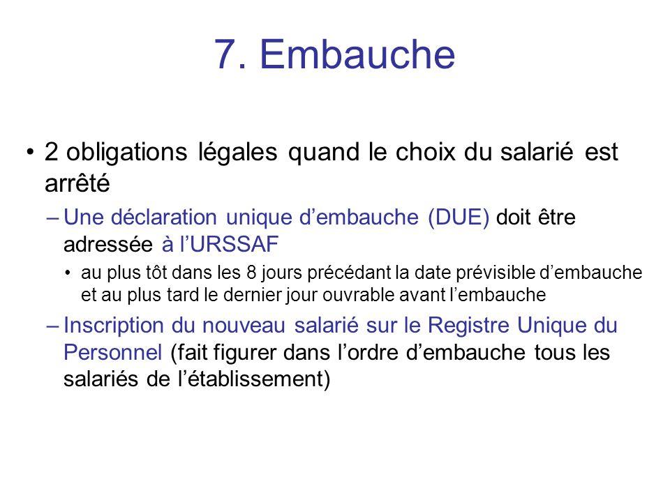 2 obligations légales quand le choix du salarié est arrêté –Une déclaration unique dembauche (DUE) doit être adressée à lURSSAF au plus tôt dans les 8