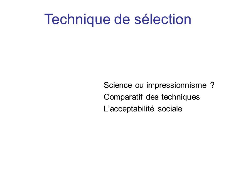 Science ou impressionnisme ? Comparatif des techniques Lacceptabilité sociale Technique de sélection