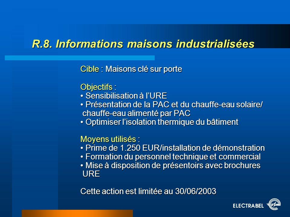 R.8. Informations maisons industrialisées Cible : Maisons clé sur porte Objectifs : Sensibilisation à lURE Présentation de la PAC et du chauffe-eau so