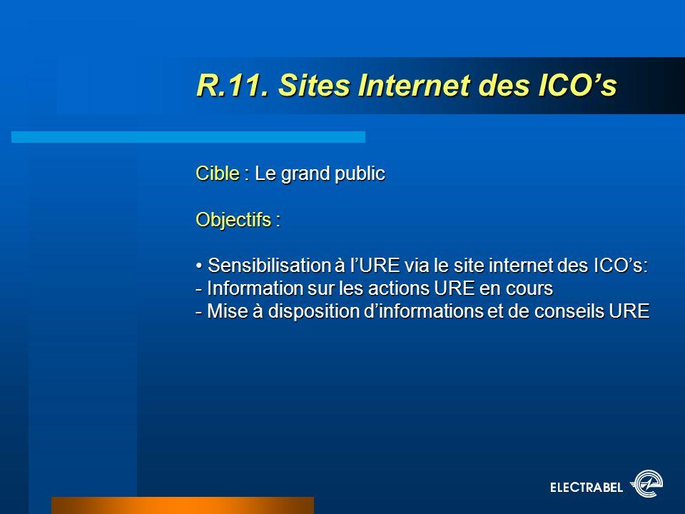 R.11. Sites Internet des ICOs Cible : Le grand public Objectifs : Sensibilisation à lURE via le site internet des ICOs: - Information sur les actions