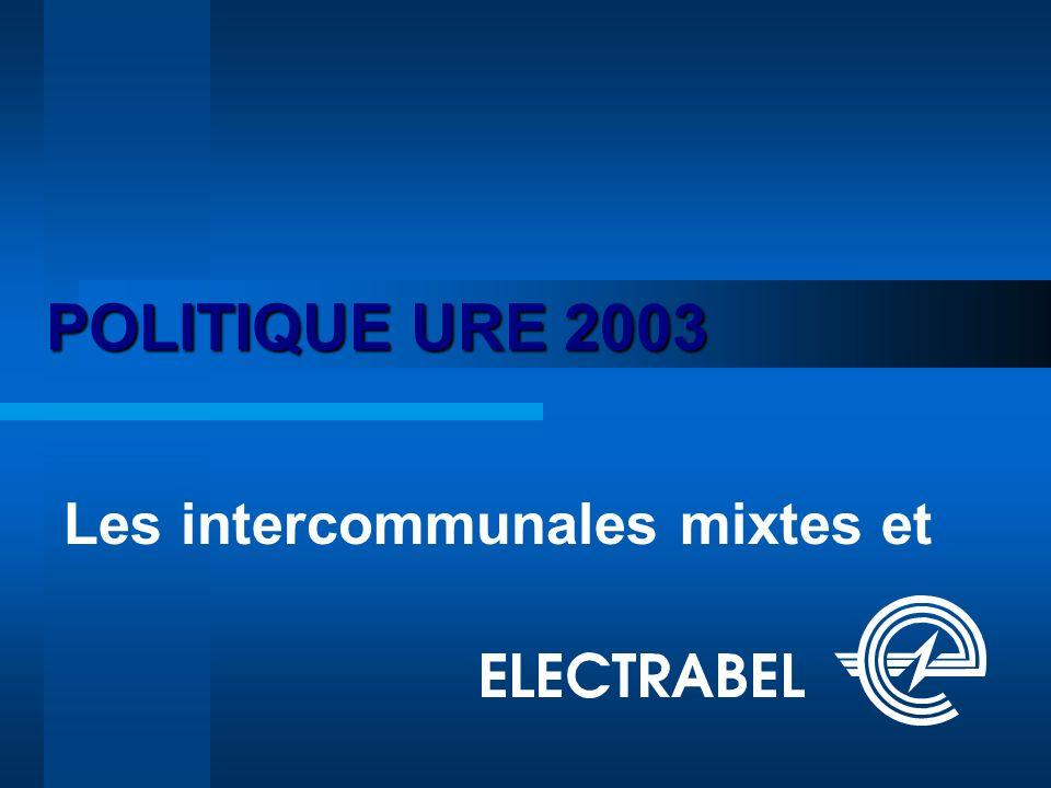 POLITIQUE URE 2003 Les intercommunales mixtes et