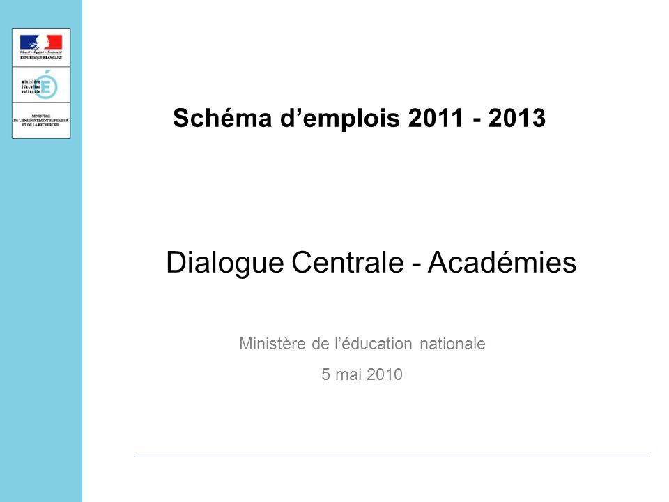 Dialogue Centrale - Académies Ministère de léducation nationale 5 mai 2010 Schéma demplois 2011 - 2013