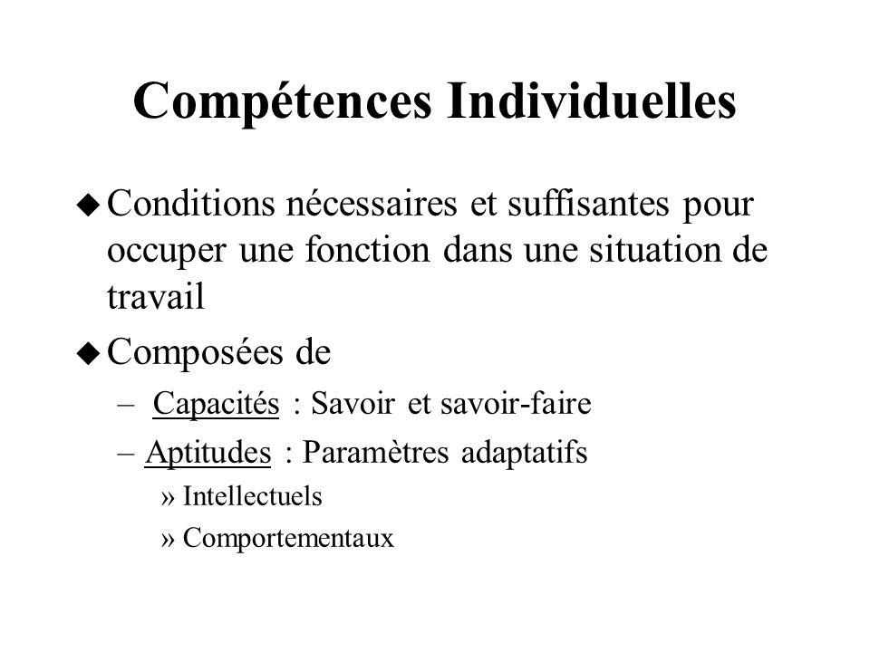 Compétences Individuelles Conditions nécessaires et suffisantes pour occuper une fonction dans une situation de travail Composées de – Capacités : Sav