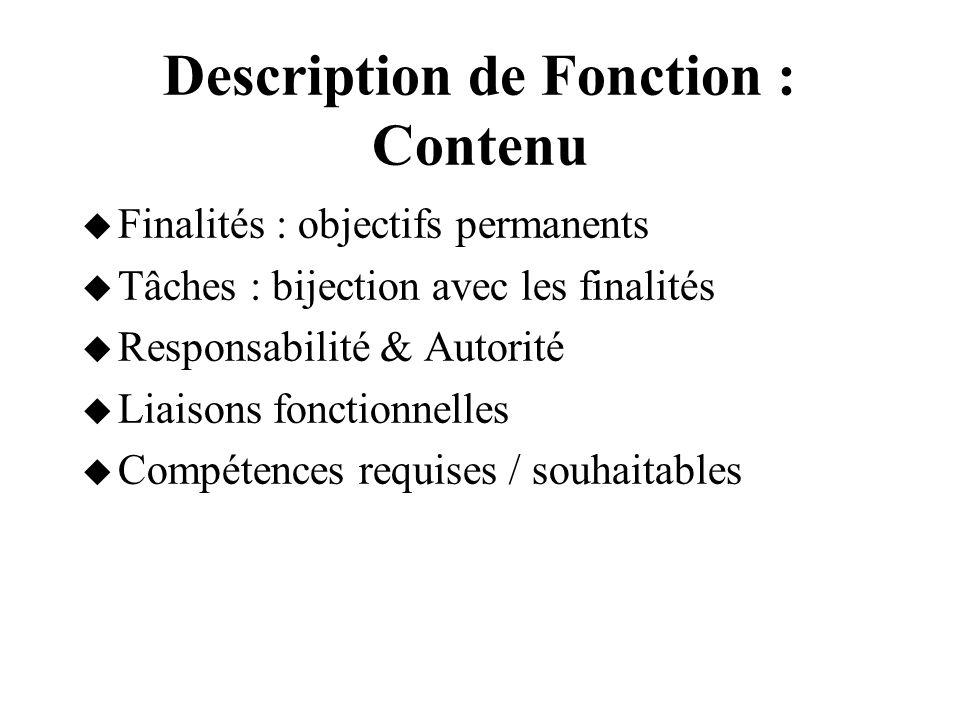 Description de Fonction : Contenu Finalités : objectifs permanents Tâches : bijection avec les finalités Responsabilité & Autorité Liaisons fonctionne