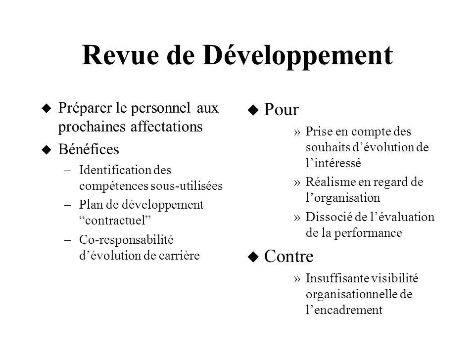 Revue de Développement Préparer le personnel aux prochaines affectations Bénéfices –Identification des compétences sous-utilisées –Plan de développeme