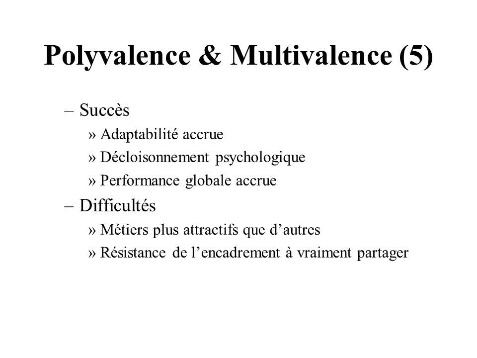 Polyvalence & Multivalence (5) –Succès »Adaptabilité accrue »Décloisonnement psychologique »Performance globale accrue –Difficultés »Métiers plus attr