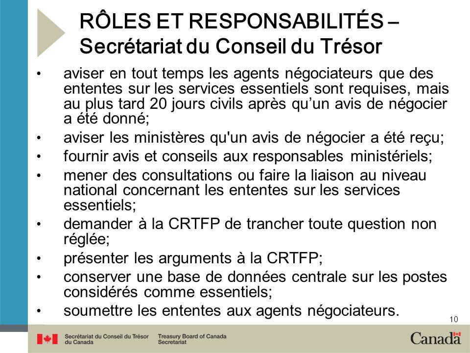 10 RÔLES ET RESPONSABILITÉS – Secrétariat du Conseil du Trésor aviser en tout temps les agents négociateurs que des ententes sur les services essentie