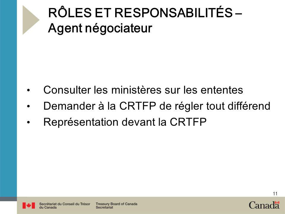11 RÔLES ET RESPONSABILITÉS – Agent négociateur Consulter les ministères sur les ententes Demander à la CRTFP de régler tout différend Représentation