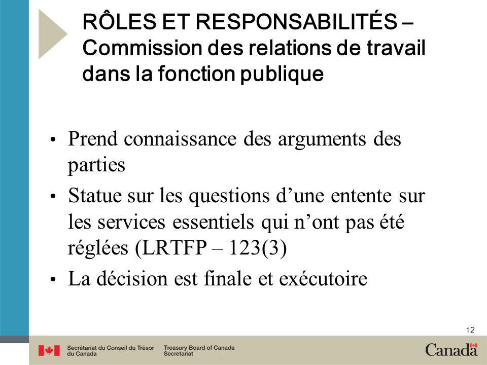 12 RÔLES ET RESPONSABILITÉS – Commission des relations de travail dans la fonction publique Prend connaissance des arguments des parties Statue sur le