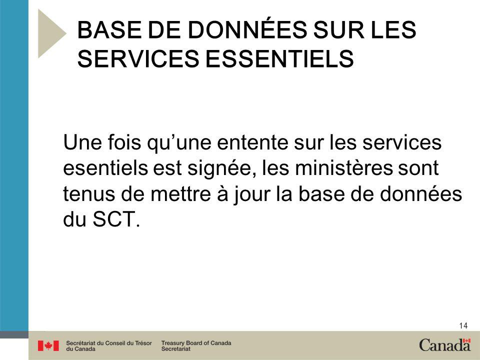 14 BASE DE DONNÉES SUR LES SERVICES ESSENTIELS Une fois quune entente sur les services esentiels est signée, les ministères sont tenus de mettre à jou