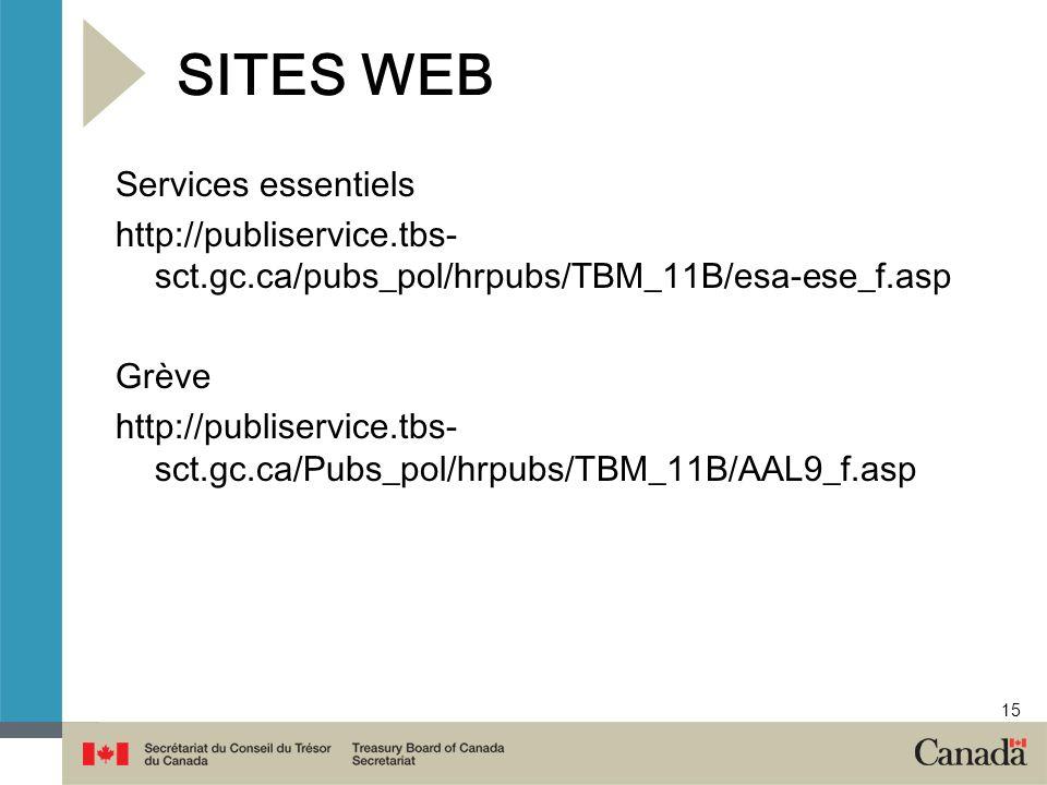 15 SITES WEB Services essentiels http://publiservice.tbs- sct.gc.ca/pubs_pol/hrpubs/TBM_11B/esa-ese_f.asp Grève http://publiservice.tbs- sct.gc.ca/Pub