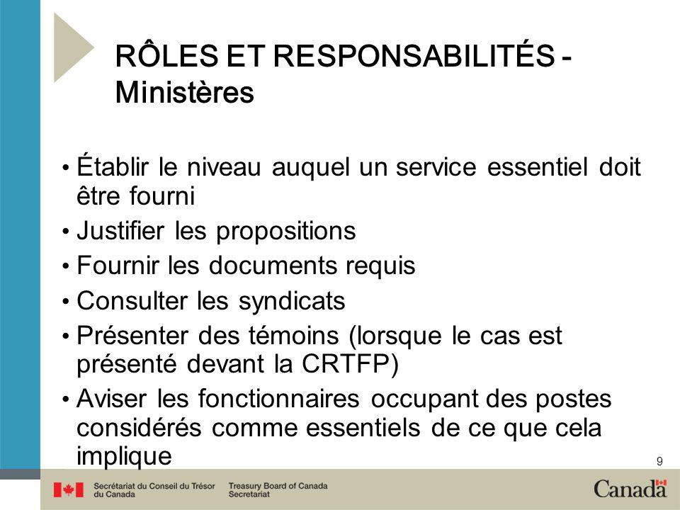 9 RÔLES ET RESPONSABILITÉS - Ministères Établir le niveau auquel un service essentiel doit être fourni Justifier les propositions Fournir les document