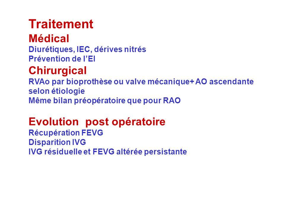 Traitement Médical Diurétiques, IEC, dérives nitrés Prévention de lEI Chirurgical RVAo par bioprothèse ou valve mécanique+ AO ascendante selon étiolog