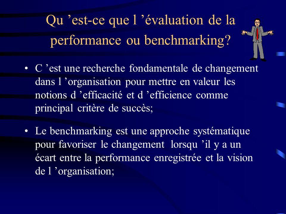 Qu est-ce que l évaluation de la performance ou benchmarking? C est une recherche fondamentale de changement dans l organisation pour mettre en valeur