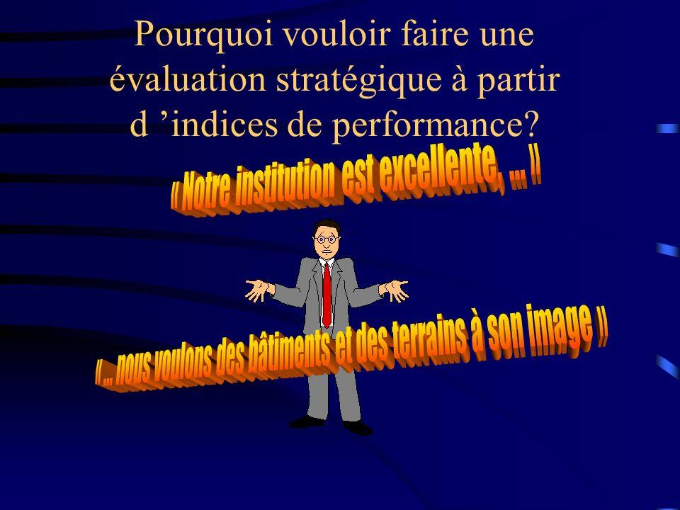 Pourquoi vouloir faire une évaluation stratégique à partir d indices de performance?