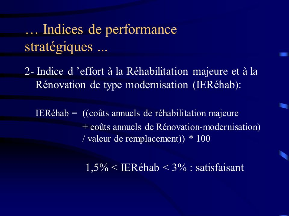 … Indices de performance stratégiques... 2- Indice d effort à la Réhabilitation majeure et à la Rénovation de type modernisation (IERéhab): IERéhab =(