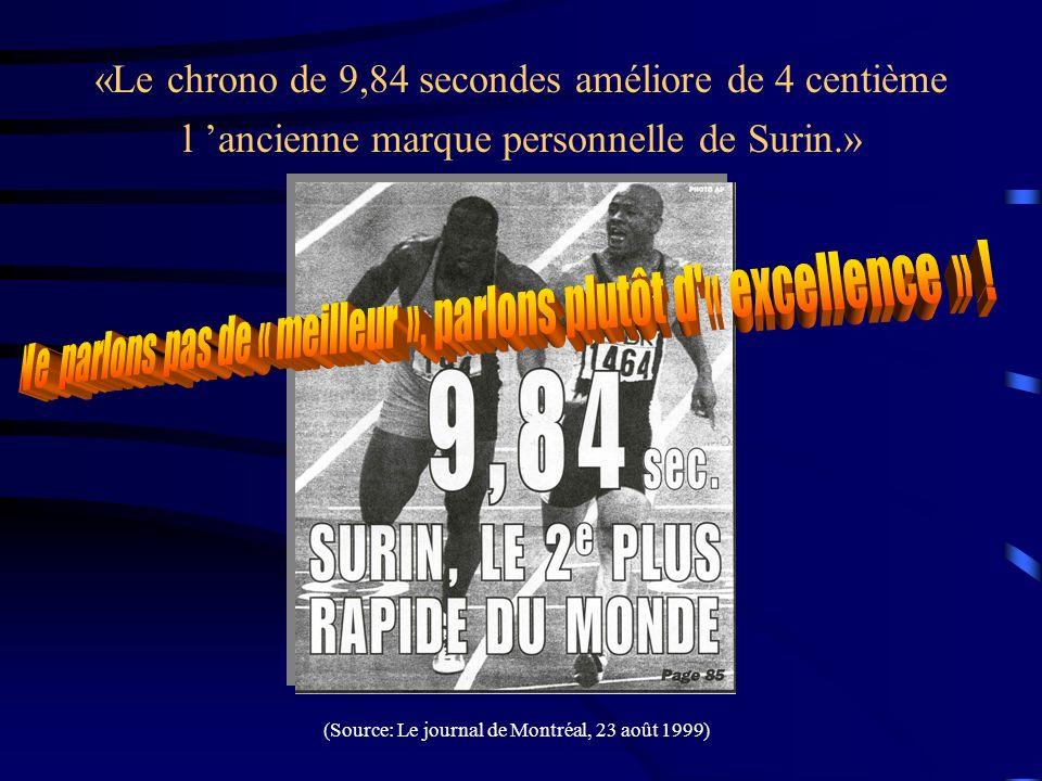 «Le chrono de 9,84 secondes améliore de 4 centième l ancienne marque personnelle de Surin.» (Source: Le journal de Montréal, 23 août 1999)
