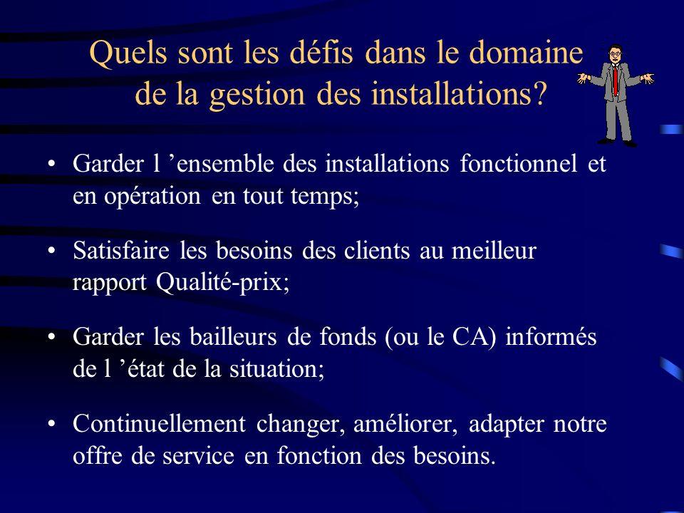 Quels sont les défis dans le domaine de la gestion des installations? Garder l ensemble des installations fonctionnel et en opération en tout temps; S