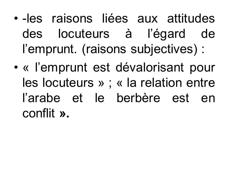 -les raisons liées aux attitudes des locuteurs à légard de lemprunt. (raisons subjectives) : « lemprunt est dévalorisant pour les locuteurs » ; « la r