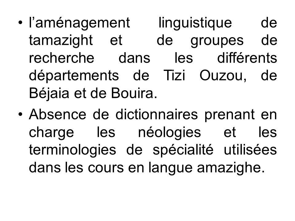 laménagement linguistique de tamazight et de groupes de recherche dans les différents départements de Tizi Ouzou, de Béjaia et de Bouira. Absence de d