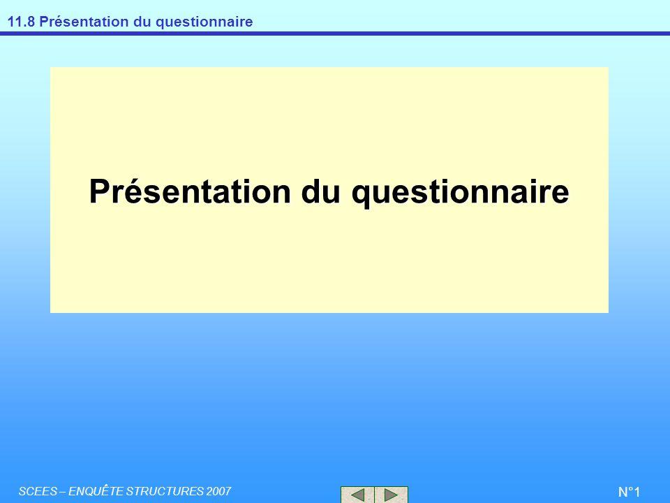 11.8 Présentation du questionnaire SCEES – ENQUÊTE STRUCTURES 2007 N°1 Présentation du questionnaire