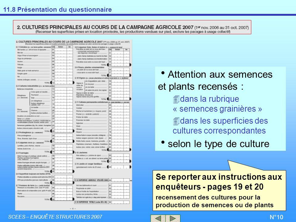 11.8 Présentation du questionnaire SCEES – ENQUÊTE STRUCTURES 2007 N°10 Se reporter aux instructions aux enquêteurs - pages 19 et 20 recensement des c