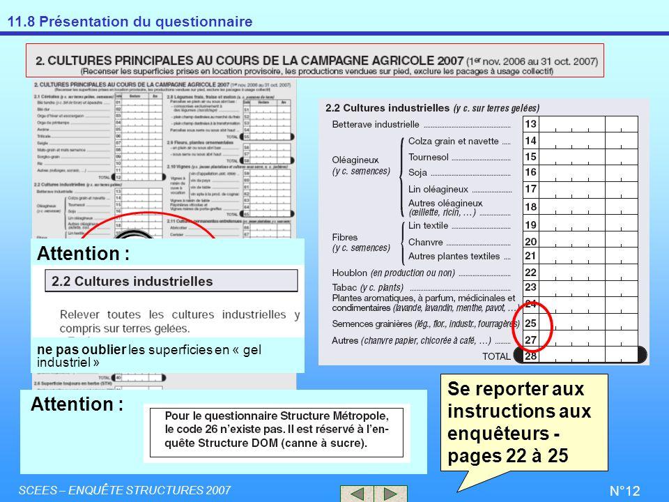 11.8 Présentation du questionnaire SCEES – ENQUÊTE STRUCTURES 2007 N°12 Se reporter aux instructions aux enquêteurs - pages 22 à 25 Attention : ne pas