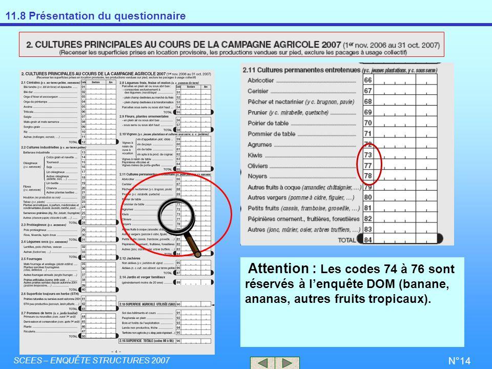 11.8 Présentation du questionnaire SCEES – ENQUÊTE STRUCTURES 2007 N°14 Attention : Les codes 74 à 76 sont réservés à lenquête DOM (banane, ananas, au