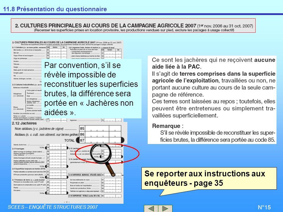 11.8 Présentation du questionnaire SCEES – ENQUÊTE STRUCTURES 2007 N°15 Par convention, sil se révèle impossible de reconstituer les superficies brute