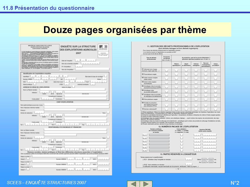 11.8 Présentation du questionnaire SCEES – ENQUÊTE STRUCTURES 2007 N°2 Douze pages organisées par thème