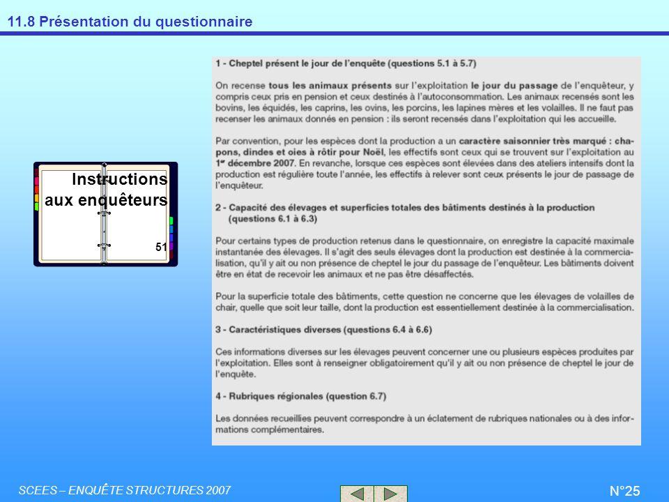 11.8 Présentation du questionnaire SCEES – ENQUÊTE STRUCTURES 2007 N°25 Instructions aux enquêteurs 51