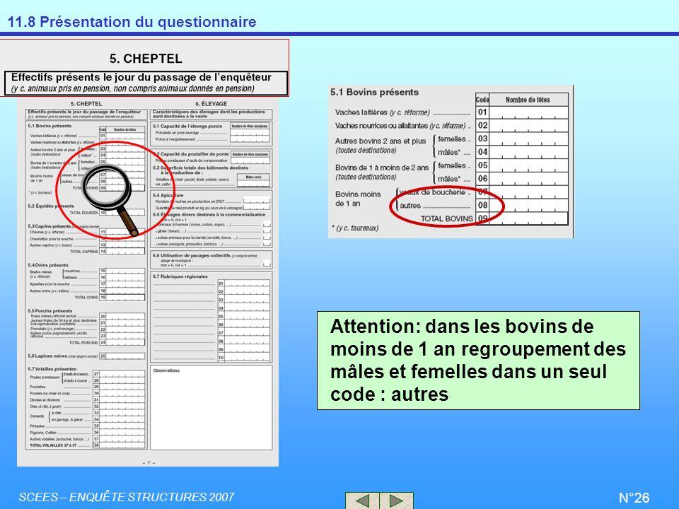 11.8 Présentation du questionnaire SCEES – ENQUÊTE STRUCTURES 2007 N°26 Attention: dans les bovins de moins de 1 an regroupement des mâles et femelles