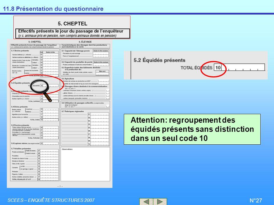 11.8 Présentation du questionnaire SCEES – ENQUÊTE STRUCTURES 2007 N°27 Attention: regroupement des équidés présents sans distinction dans un seul cod