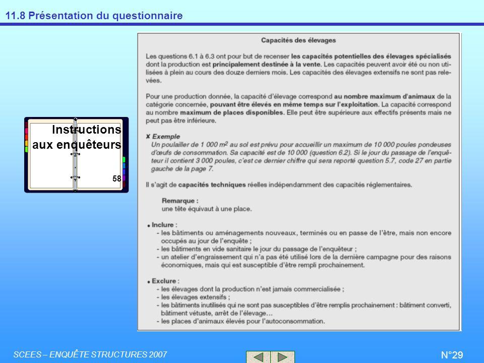 11.8 Présentation du questionnaire SCEES – ENQUÊTE STRUCTURES 2007 N°29 Instructions aux enquêteurs 58