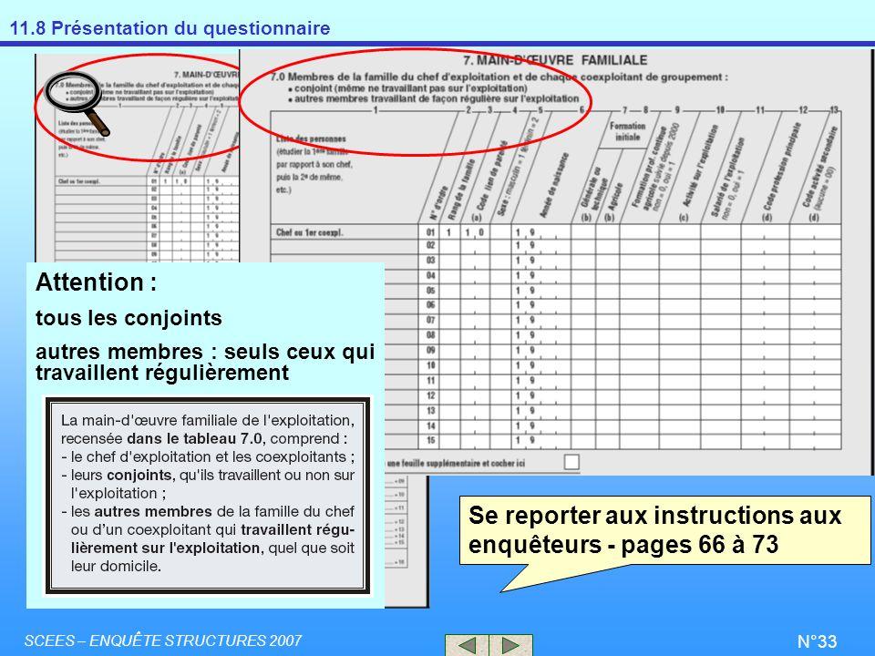 11.8 Présentation du questionnaire SCEES – ENQUÊTE STRUCTURES 2007 N°33 Se reporter aux instructions aux enquêteurs - pages 66 à 73 Attention : tous l