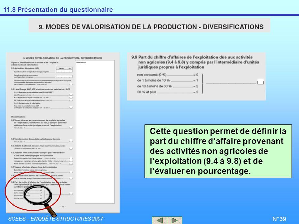 11.8 Présentation du questionnaire SCEES – ENQUÊTE STRUCTURES 2007 N°39 Cette question permet de définir la part du chiffre daffaire provenant des act