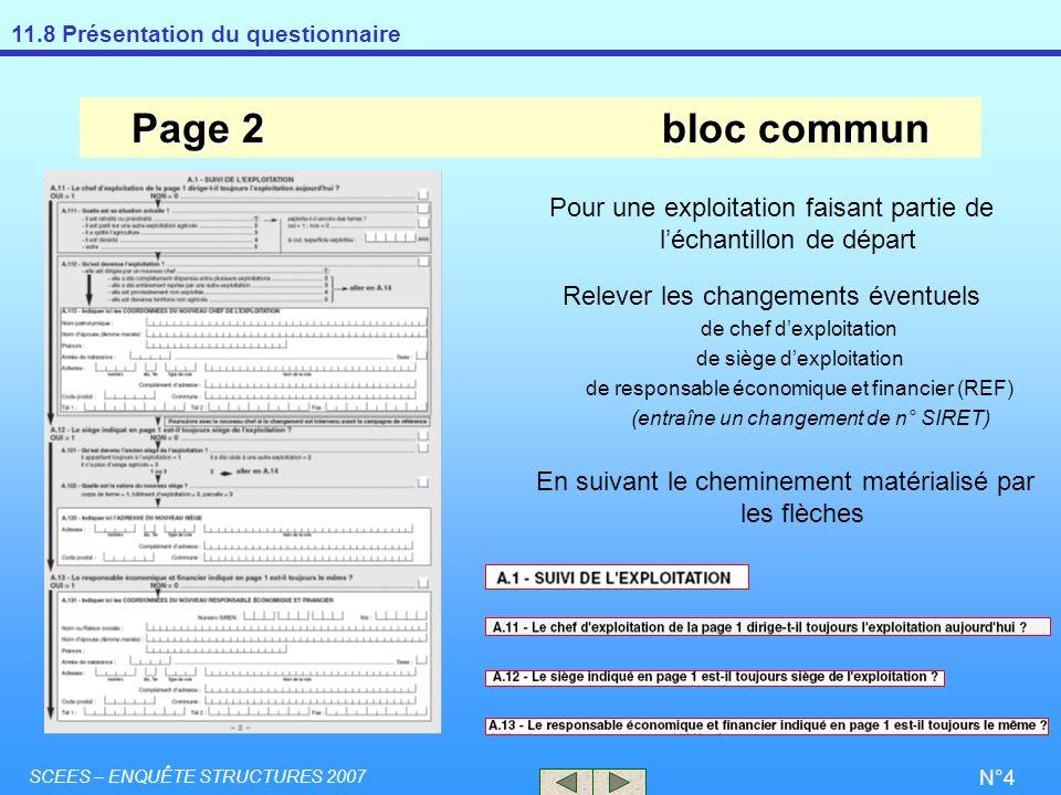 11.8 Présentation du questionnaire SCEES – ENQUÊTE STRUCTURES 2007 N°4 Page 2bloc commun Pour une exploitation faisant partie de léchantillon de dépar