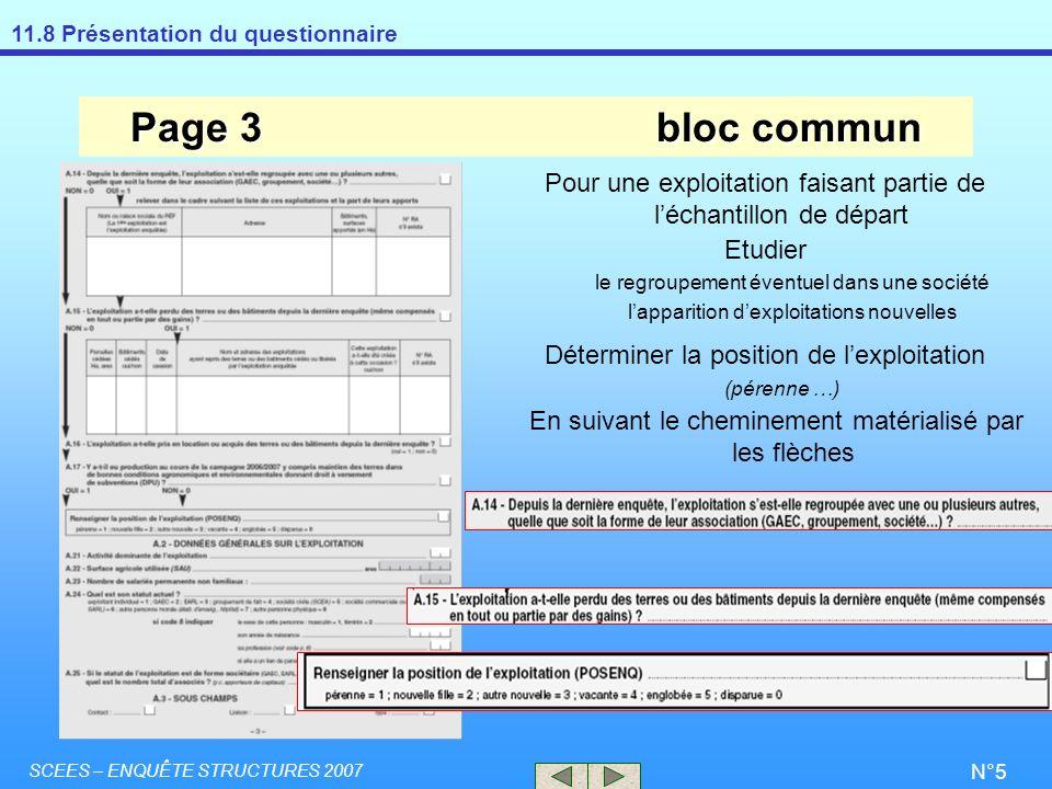 11.8 Présentation du questionnaire SCEES – ENQUÊTE STRUCTURES 2007 N°5 Page 3bloc commun Pour une exploitation faisant partie de léchantillon de dépar