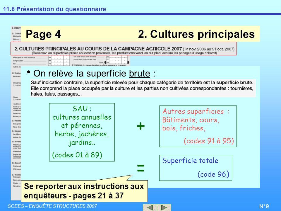 11.8 Présentation du questionnaire SCEES – ENQUÊTE STRUCTURES 2007 N°9 Page 42. Cultures principales On relève la superficie brute : Se reporter aux i