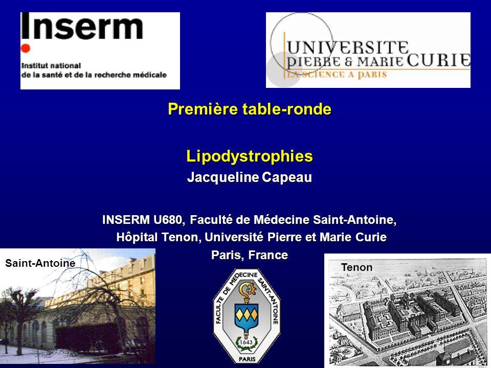 Première table-ronde Lipodystrophies Jacqueline Capeau INSERM U680, Faculté de Médecine Saint-Antoine, Hôpital Tenon, Université Pierre et Marie Curie Paris, France Saint-Antoine Tenon