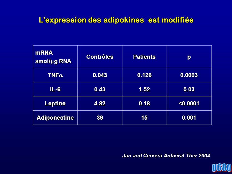 Lexpression des adipokines est modifiée mRNA amol/ g RNA ContrôlesPatientsp TNF TNF 0.0430.1260.0003 IL-60.431.520.03 Leptine4.820.18<0.0001 Adiponectine39150.001 Jan and Cervera Antiviral Ther 2004