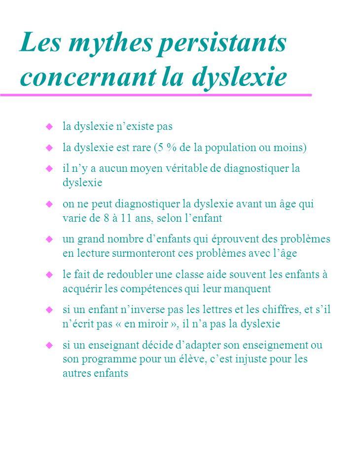 Les mythes persistants concernant la dyslexie u la dyslexie nexiste pas u la dyslexie est rare (5 % de la population ou moins) u il ny a aucun moyen v