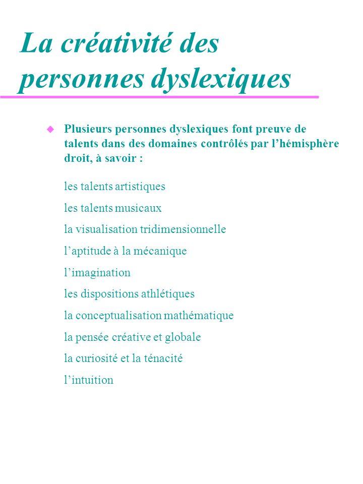 La créativité des personnes dyslexiques u Plusieurs personnes dyslexiques font preuve de talents dans des domaines contrôlés par lhémisphère droit, à