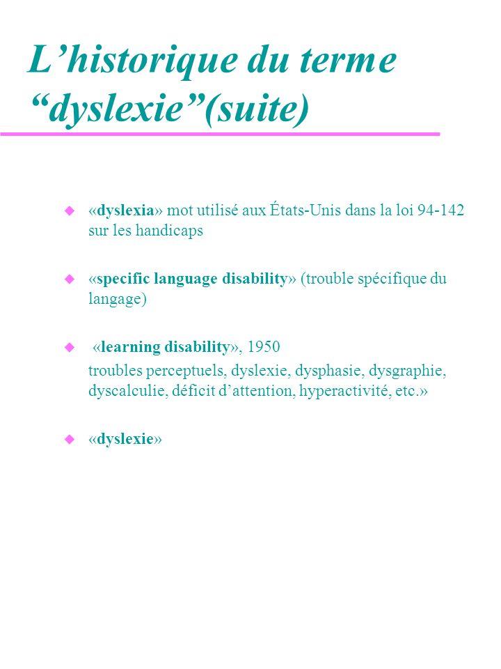 La définition de la dyslexie u Avant que le National Institutes of Health (É.-U.), nentame ses recherches dans les années 80, la dyslexie était seulement définie de manière exclusive.